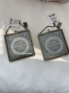 Hearth amp; Hand Magnolia Christmas Glass Photo Picture Frame Ornaments Set Of 2