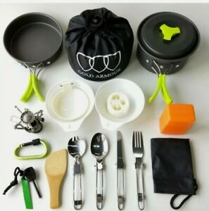 17Pc.Camping Cookware Mess Kit Backpacking Gear Hiking Outdoors Bug Out Bag Free
