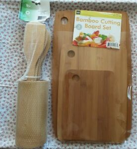 3 Piece Bamboo Cutting Board Set wood serving board cheese platter NEW gift home