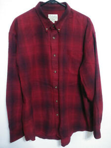 Cabelas Mens Size 2XL Red Plaid Flannel Long Sleeve Button Up Shirt