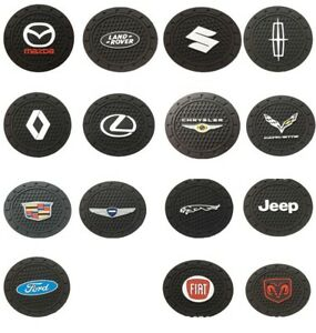 2pc Car Logo Cup Holder Mat Pad Silicone Coaster for All Car brand Cadillac Ford $6.43