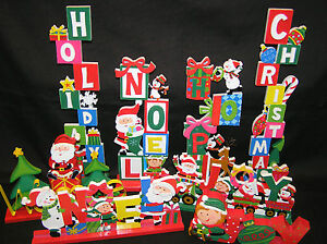 7 WOOD WOODEN HOLIDAY TABLE DISPLAYS NOEL CHRISTMAS HOPE HOLIDAY WELCOME JOY
