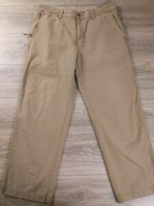 Columbia Pants Flat Front Khaki Tan Size 36X30 Camping Hiking Outdoors Travel
