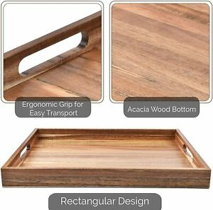 Wood Serving Tray with Handles 16 Inches
