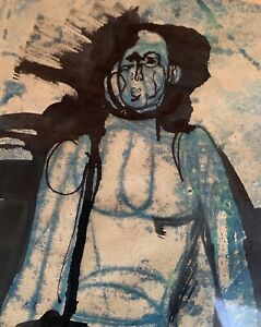 Cool Vintage Abstract Figure Man Watercolor Mid Century Modern Art Signed Rotkin $195.00