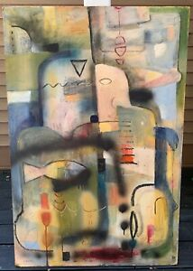 Large Vintage Abstract Oil Painting Mid Century Modern Art Wall Hanging Signed $450.00