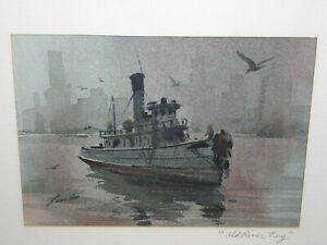 NYC Cityscape Seascape Painting Art Old River Tug Boat New York Artist Don Lambo $147.89