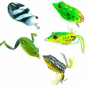 LENPABY 5pcs Topwater Frog Lures Soft Fishing Kit With Tackle Box Bass Pike