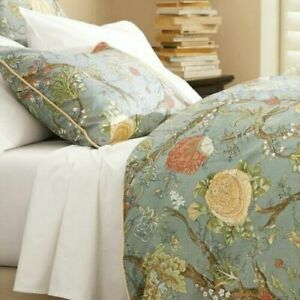 Pottery Barn Wells Palampore Queen Duvet Blue Floral Branches Shams Set
