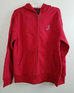 Nautica Boys Red Hoodie Fleece Long Sleeve Zip Up Jacket Size M 10 12 $15.99