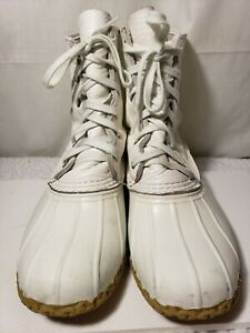 LL Bean Duck Hunting Boots Womens Size 9 M White Leather Rubber Made inUSA