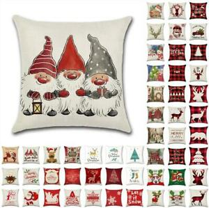 18quot; US Christmas Xmas Cushion Cover Pillow Case Sofa Home Decor Reindeer Snow $4.85