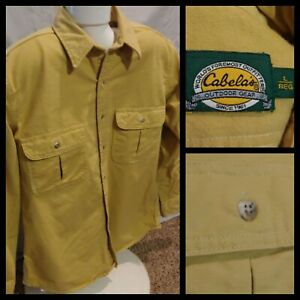 Mens Cabelas Heavy Cotton Long Sleeve Button Down Shirt Yellow Soft Canvas Large