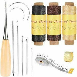 Leather Sewing Repair Kit Waxed Thread with Stitching Needle Awl for DIY Project $10.99