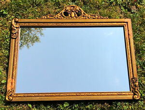 Antique Vintage Gilded Wood Wall Mirror Gold Gilt Ornate French Provincial $119.00