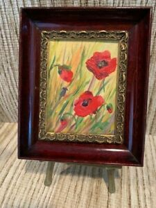 MINIATURE Framed Original OIL Painting Flower Floral POPPIES Painting ANTIQUE $40.00