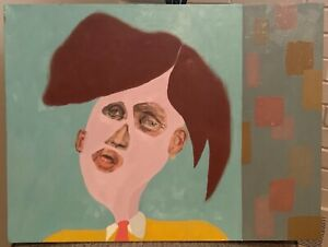 Bizarre Unique Vintage Abstract Portrait Oil Painting Modern Art Wall Hanging $125.00