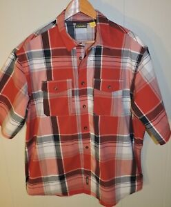 Men#x27;s Red Plaid Cabelas Button Down Shirt Short Sleeve XL Polyester Stretch