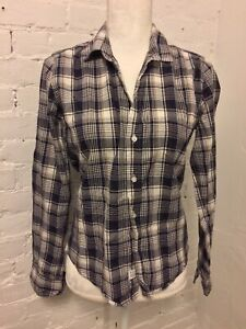 Frank Eileen Cotton Barry Shirt Black Gray Plaid size XS $49.00
