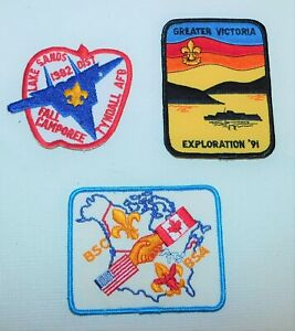 3 BSA Boy Scout Assorted lot vintage sew on patches