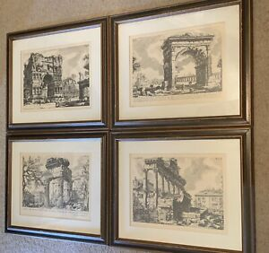 Vintage Giovanni Battista Piranesi Rome In Ruins Framed Etching Prints Lot Of 4 $350.00