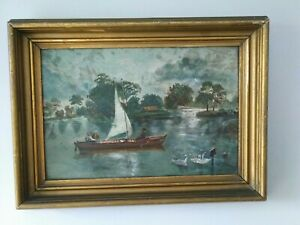Charming Antique Victorian OIL PAINTING Ohio Buckeye Lake Boat Swans Gilt Frame $150.00