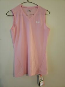 Womens Pink UNDER ARMOUR Tank Top Heat Gear Fitted Size Large $15.00