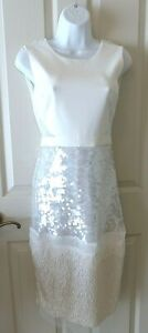 BCBG NWT Reyna off white cocktail dress with sequins Women#x27;s size 2