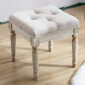 Chairus Square Fabric Tufted Ottoman Bench Stool Rustic wood legs $95.00