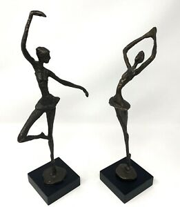 Two Pier 1 Bronze Metal Sculptures Ballerina Abstract Statues Mid Century Style $59.99