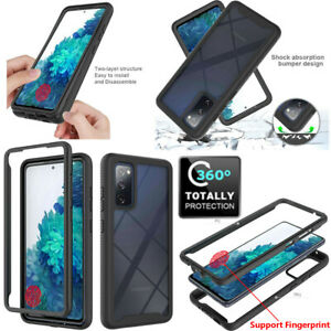 For Samsung Galaxy S20 FE 5G Full Body Rugged Clear Case With Screen Protector