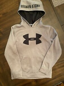 Under Armour Boys Hoodie Size YSM Gray Black Hooded Sweatshirt $6.99