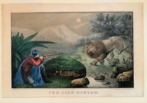 Scarce Currier amp; Ives N. Currier print quot;The Lion Hunterquot; $235.00