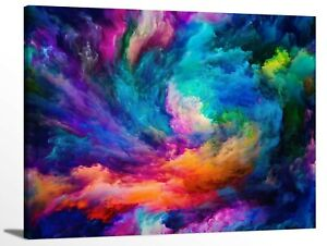 Modern Abstract Rainbow Colorful Clouds Smoke Pattern Framed Canvas Wall Art $29.95