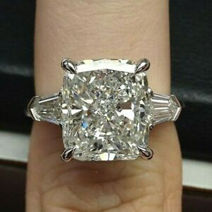 3.49 Carat Prong Set 14k White Gold Radiant Cut Diamond Huge Engagement Ring