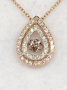 Rose Gold Dancing Diamond Pendant With Chain