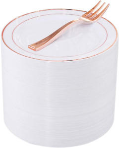 240 Pieces Rose Gold Plastic Dessert Plates with Disposable Forks