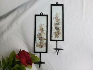 Lot of 2 Vtg Iron Metal Purple Dried Flower Candle Holder Wall Sconce B 246 $45.99
