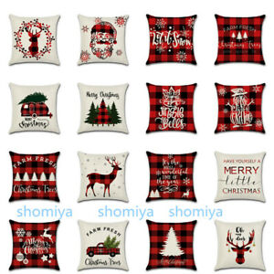 US 18quot; Tartan Plaid Christmas Xmas Cushion Cover Pillow Case Sofa Home Decor New $4.99