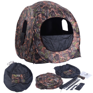 Portable Hunting Blind Waterproof 3 Person Ground Tent With Windows Tree Camo