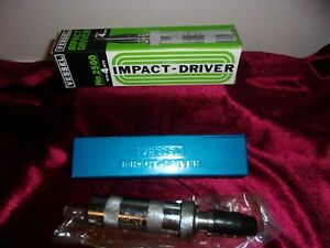 VINTAGE VESSEL MODEL 2500 HAND IMPACT DRIVER WITH 4 BITS AND METAL CASE $19.99