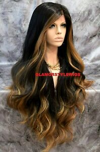 360 Free Part Human Hair Blend Lace Front Wig Long Ombre Brown Golden Blonde Mix $94.45