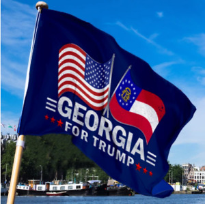 Georgia For Trump Limited Edition Dual Flags House Flag Full Over Printed