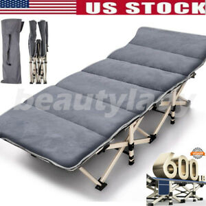 Folding Camping Cot Heavy duty Bed w Mattress amp; Carry Bag for Travel Vocation