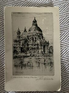 Paul Geissler Etching 1934 Pencil Signed By Artist UnFramed Postcard Size. $15.00