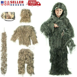 Ghillie Suit 3D Kids Youth Camouflage Hunting amp; Shooting Clothing 5 Pieces Set