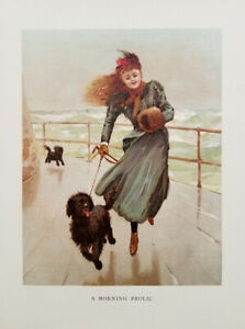 Antique Color Lithograph Print 1890#x27;s Pretty Girl amp; Her Dogs on a MORNING FROLIC $12.50