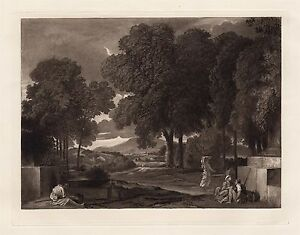Classical 1800s Nicolas POUSSIN Antique Etching quot;Phocionquot; Gallery Framed COA $214.00