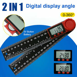 2 In 1 Electronic Digital Angle Finder 200mm 8quot; Protractor Ruler Goniometer LCD $8.59
