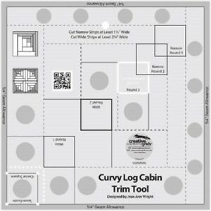 Curvy Log Cabin Trim Tool 8quot; finished blocks Creative Grids Quilting Ruler $23.49